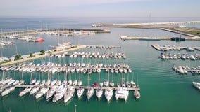 Free Aerial View Of Docked Sailboats At Marina Stock Images - 131925284