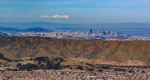Free Aerial View Of Downtown San Francisco Skyscrapers Fly Over South San Francisco The Industrial City San Bruno Mountain Inscription Stock Images - 139525704