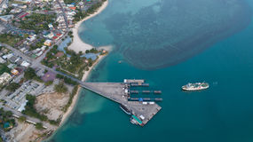 Free Aerial View Of Ferry Boat Docking Time Royalty Free Stock Photography - 98899297
