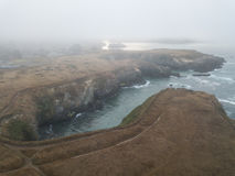 Aerial View Of Foggy Coast In Northern California Royalty Free Stock Photography
