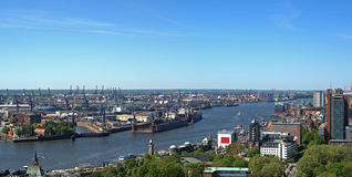 Aerial View Of Hamburg Harbor Royalty Free Stock Images