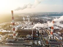Free Aerial View Of Heating Plant And Thermal Power Station. Combined Power Station For City District Heating And Generating Electrical Stock Image - 165025411