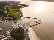 Aerial View Of Hilton Head With Lighthouse, Beach, And Golf Course Stock Photography
