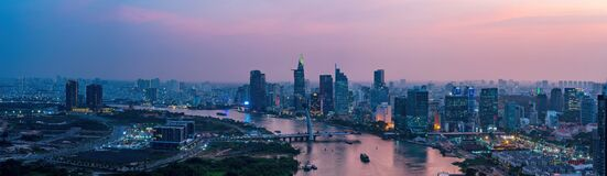 Free Aerial View Of Ho Chi Minh City, Vietnam. Beauty Skyscrapers Along River Light Smooth Down Urban Development. Dramatic Lighting Royalty Free Stock Image - 215497196