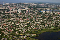 Aerial View Of Industrial Area By The Sea, City Li Royalty Free Stock Image