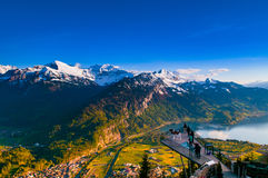 Free Aerial View Of Interlaken And Swiss Alps From Harder Kulm View P Stock Photo - 98443200