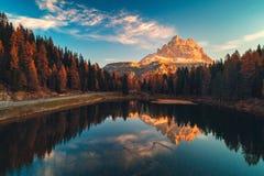 Free Aerial View Of Lago Antorno, Dolomites, Lake Mountain Landscape With Alps Peak , Misurina, Cortina D`Ampezzo, Italy Stock Photos - 161210453