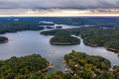 Free Aerial View Of Lake Allatoona Just After The Sunset Royalty Free Stock Photography - 130924327