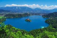 Free Aerial View Of Lake Bled, Alps, Slovenia, Europe Stock Images - 104703644