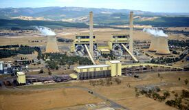Free Aerial View Of Loy Yang Power Station In The Latrobe Valley Gippsland Showing The Cooling Towers And Surroundi         Robe Valley Stock Photos - 207602193