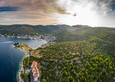 Free Aerial View Of Marina Vis At Sunset, Croatia, A Lot Of Chaotically Standing Boats In A Bay, Roofs Of Orange Color Stock Photos - 178390573