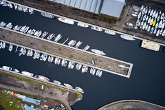 Free Aerial View Of Marina With Boats And Yachts From Above In Row And Pontoon Stock Photos - 164149903