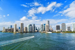 Aerial View Of Miami Skyscrapers With Blue Cloudy Sky, Boat Sail Royalty Free Stock Photo