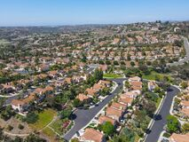 Free Aerial View Of Middle Class Big Villas In Carlsbad Valley Stock Images - 217850754