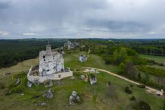 Free Aerial View Of Mirow Castle, Eagles Nests Trail. Medieval Fortress In The Jura Region Near Czestochowa.  Silesian Voivodeship. Stock Image - 181812721