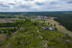 Free Aerial View Of Mirow Castle, Eagles Nests Trail. Medieval Fortress In The Jura Region Near Czestochowa.  Silesian Voivodeship. Stock Photography - 181812812