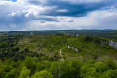 Free Aerial View Of Mirow Castle, Eagles Nests Trail. Medieval Fortress In The Jura Region Near Czestochowa.  Silesian Voivodeship. Royalty Free Stock Photos - 181812818