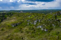 Free Aerial View Of Mirow Castle, Eagles Nests Trail. Medieval Fortress In The Jura Region Near Czestochowa.  Silesian Voivodeship. Stock Photos - 181812823
