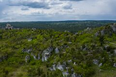 Free Aerial View Of Mirow Castle, Eagles Nests Trail. Medieval Fortress In The Jura Region Near Czestochowa.  Silesian Voivodeship. Royalty Free Stock Images - 181812829