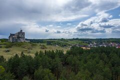 Free Aerial View Of Mirow Castle, Eagles Nests Trail. Medieval Fortress In The Jura Region Near Czestochowa.  Silesian Voivodeship. Stock Images - 181812834