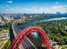Aerial View Of Moscow With Cable-stayed Zhivopisny Bridge Royalty Free Stock Image