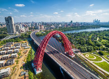 Aerial View Of Moscow With Cable-stayed Zhivopisny Bridge Stock Photography