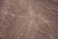 Aerial View Of Nazca Line,Hummingbird,Peru Royalty Free Stock Photos