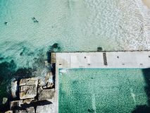 Free Aerial View Of Ocean Pool With Crushing Waves Royalty Free Stock Photography - 133363287