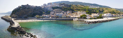 Free Aerial View Of Pizzo Calabro, Pier, Castle, Calabria, Tourism Italy. Panoramic View Of The Small Town Of Pizzo Calabro By The Sea. Stock Photo - 96150530