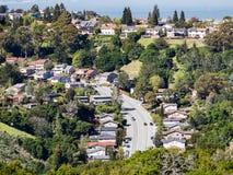 Aerial View Of Residential Neighborhood, San Carlos, San Francisco Bay Area, California Royalty Free Stock Image