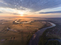 Aerial View Of River At Sunrise, Fly Over Morning Mist On The River Royalty Free Stock Photos