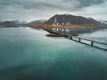 Free Aerial View Of Road 1 In Iceland With Bridge Over The Sea In Snaefellsnes Peninsula With Clouds, Water And Mountain In Royalty Free Stock Image - 121728906