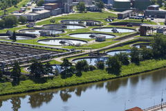 Free Aerial View Of Sewage Water Treatment Plant Royalty Free Stock Image - 78039966