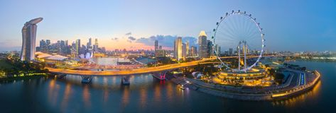 Free Aerial View Of Singapore Iconic Flyer, Marina Bay Sands Hotel And Part Of F1 Track Stock Photo - 127281020