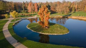 Free Aerial View Of Stromovka Town Park In Prague. Colorful Autumnal Leaves On Trees, Footpath And A Pond Royalty Free Stock Photos - 201816168