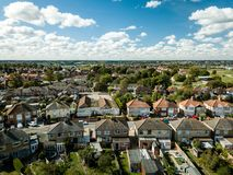 Free Aerial View Of Suburban Houses In Ipswich, UK. View From Backyard. Stock Photos - 127504463
