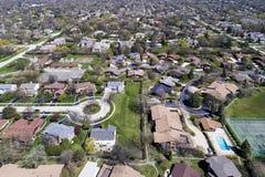 Free Aerial View Of Suburban Neighborhood With Cul-De-Sac Stock Photos - 97295903