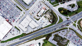 Aerial View Of Supermarkets, Car Parks And Roads. Royalty Free Stock Photo
