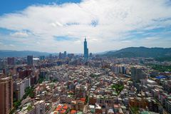 Free Aerial View Of Taipei Downtown, Taiwan. Financial District And Business Centers In Smart Urban City. Skyscraper And High-rise Stock Photography - 151449722