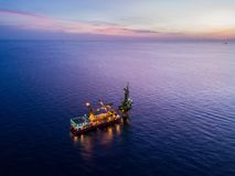 Free Aerial View Of Tender Drilling Oil Rig Barge Oil Rig Royalty Free Stock Image - 100988096