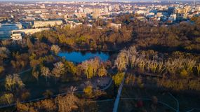 Free Aerial View Of The Autumn City Park Near The Lake. Royalty Free Stock Photos - 132333228