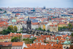 Free Aerial View Of The Colorful Orange Roofs Of Old Houses In The City Of Europe Prague Stock Photo - 95162750