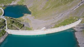 Free Aerial View Of The Dam Of The Lake Barbellino, An Alpine Artificial Lake. Italian Alps. Italy Stock Images - 120268824
