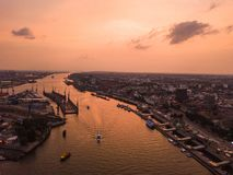 Free Aerial View Of The Elbe River And Ships In The City Of Hamburg During Sunset. Geramania In The Summer Stock Images - 163808104
