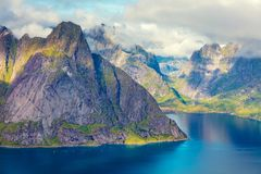 Aerial View Of The Fjord From The Mountain. Reine, Norway Stock Image