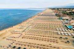 Free Aerial View Of The Marina Di Pietrasanta Beach In The Early Morning, Tuscany, Italy Royalty Free Stock Image - 153155926