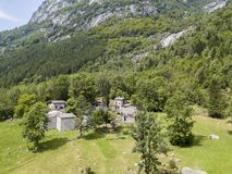 Free Aerial View Of The Mello Valley, A Valley Surrounded By Granite Mountains And Forest Trees, Renamed The Little Italian Yosemite Stock Photography - 109157462