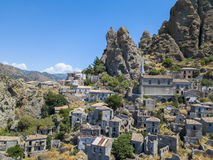 Free Aerial View Of The Small Village Of Pentedattilo, Church And Ruins Of The Abandoned Village, Greek Colony On Mount Calvario, Whose Royalty Free Stock Image - 98239166