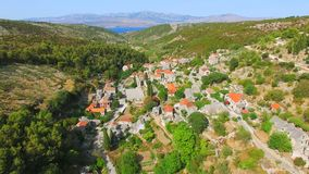Aerial View Of The Village Of Dol On The Island Of Brac. Stock Photo