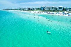 Free Aerial View Of The Waters And Happy People Off Of Santa Rosa Beach  Florida On A Perfect Day Royalty Free Stock Photos - 201959498